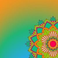 mandalapatroon op oranje, groene achtergrond