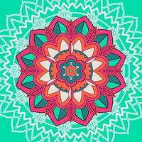 Mandala Pattern on Blue Green Background vector