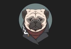 Pug dog smoke pipe illustration