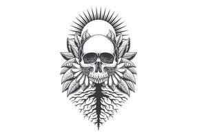 Root Skull decoration illustration vector