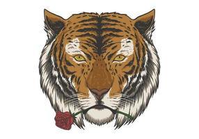 tigre mordiendo rosa ilustración vector