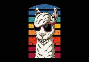 Llama eyeglasses style illustration vector