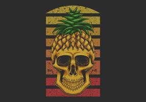 Pineapple skull illustration vector