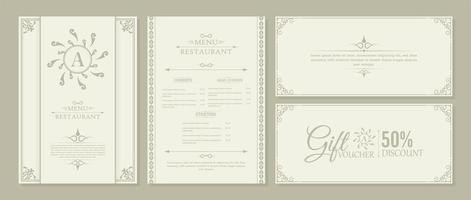 menu restaurante e voucher com elementos ornamentais