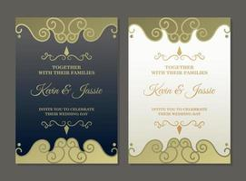 plantilla de tarjeta de invitación de oro vintage de lujo vector