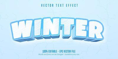 efecto de texto editable de estilo de juego de dibujos animados de invierno vector