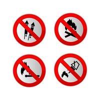 Conjunto de carteles prohibidos con tema de fuego. vector