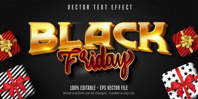 efecto de texto editable viernes negro dorado y rojo