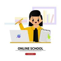 online schoolbanner met schattig meisje