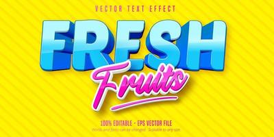 efecto de texto editable de dibujos animados de frutas frescas azul y rosa