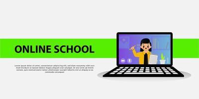 online schoolbanner met schattig meisjeskarakter op laptop
