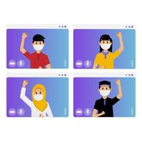 Video conference collection with masked people vector