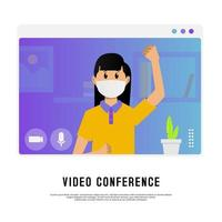 Young masked girl on video conference vector