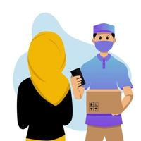 Repartidor entregando el paquete al cliente