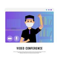 Young masked boy on video conference vector