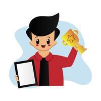 schattige jongen met trofee en certificaat
