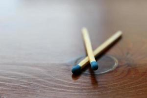 Close-up of matches on a wooden table photo