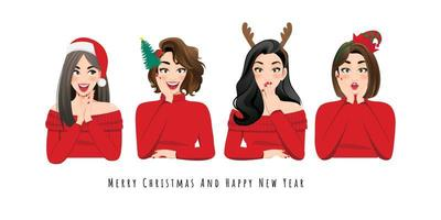 Excited and surprised women in Christmas outfits vector