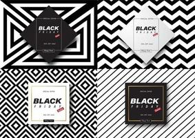 Black and white pattern Black Friday sale banners vector