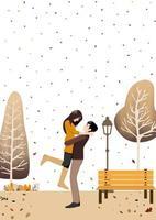 pareja de otoño de pie en el jardín de otoño
