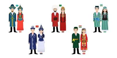 Ten Central Asia men and women in traditional costumes