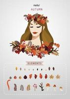 Elegant autumn girl, leaves and elements set