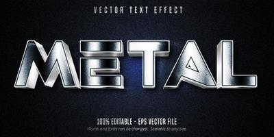 efecto de texto editable estilo metal plateado negro