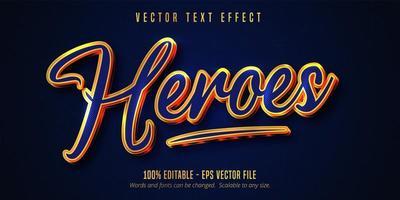 héroes efecto de texto editable de contorno dorado azul y brillante
