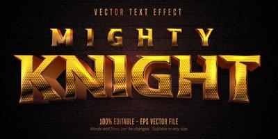 Mighty knight shiny golden style editable text effect vector