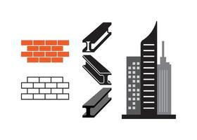 edificio y conjunto de rascacielos. vector