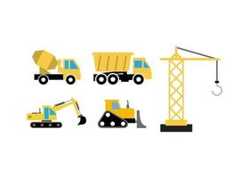 Construction vehicle set vector