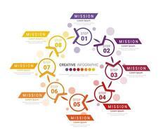 colorido degradado circular infografía de 8 pasos vector