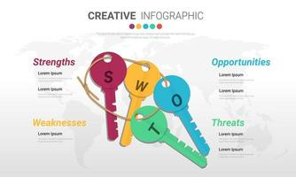 SWOT key infographic template with 4 options vector