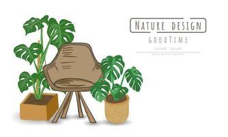 Plantas en macetas y silla de madera en blanco
