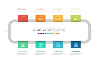 infografía rectangular redondeada con 8 etiquetas de colores vector
