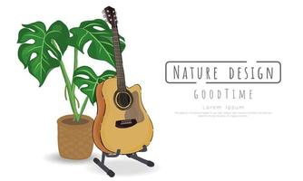 Potted plant and guitar on white
