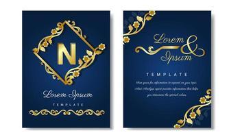 invitación de boda de decoración de esquina floral de lujo vector