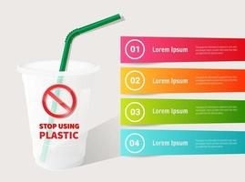 Stop using plastic straws infographic template vector
