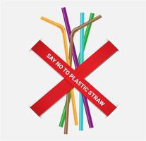 Stop using plastic straws poster vector