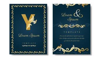tarjeta de invitación de boda azul y oro de lujo