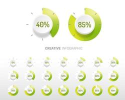 Green gradient and white circle percentage diagrams vector