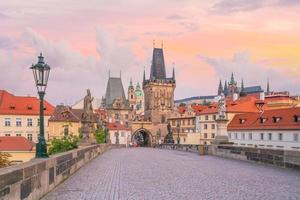 Charles Bridge and Prague city skyline