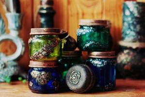 Magical colorful jars, witchy Halloween decor