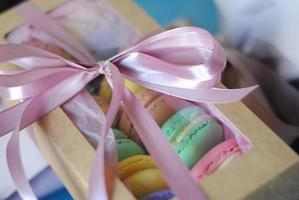 Colorful macaron in cute box with ribbon, macaroon french biscuits