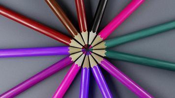 Render 3D de lápices de colores