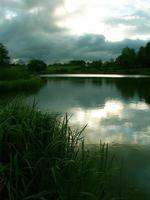 Storm clouds over a pond