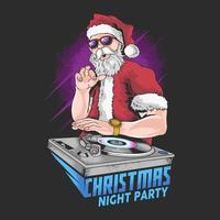 cartel de la fiesta de navidad de santa claus dj
