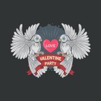 dos palomas blancas sosteniendo un corazón de amor vector