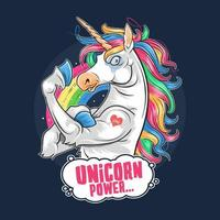 Unicorn with rainbow hair and strong muscles vector