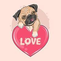 lindo perro pug sosteniendo un corazón de amor